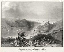Istanbul, Türkei, Einfahrt   in das Schwarze Meer, Original-Lithographie 1832