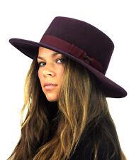 Brand New! GENUINE CC Brand! Wool Wide Brim Porkpie Fedora Hat w/ Simple Band