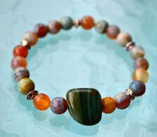 Amazonite & Pure Malachite Wrist Mala Karma Bracelet Energized Bracelet 8mm Pray