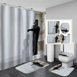 Star Wars Darth Vader Bathroom Rug Shower Curtain 4PCS Bath Toilet Lid Cover Mat