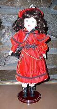 CERAMIC DOLL LITTLE RED RIDING HOOD RARE THE BRASS KEY INC W/ WOOD STAND VINTAGE