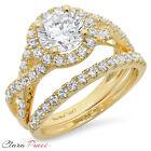 2.40 Carat Round Cut Halo Engagement Ring band set real 14k Yellow Gold Bridal