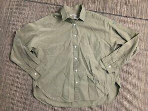 Muji Adult Mens XS/Small Button Up Shirt Long Sleeve Green