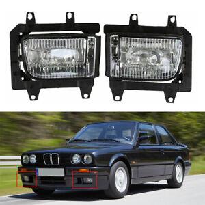 Pair Front Bumper Fog Light Lamp Housings Clear Lens For BMW E30 325i 1982-1991