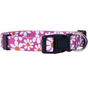 Flower Dog Collar, Adjustable, Cute Girl Female Summer Spring Pretty Pink Floral