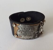 """""""I Love Country Music"""" Black Leather Rhinestones Mixed Metals Snap Cuff Bracelet"""