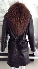 BEAUTIFUL ITALIAN REAL LEATHER BROWN QUILTED COAT WITH DETACHABLE FOX FUR COLLAR