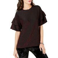 MICHAEL KORS Women's Metallic Ruffle-sleeve Blouse Shirt Top TEDO