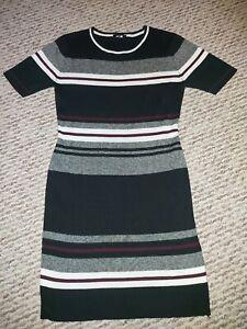 NEW LOOK Striped Stretch Jumper Dress Size 14