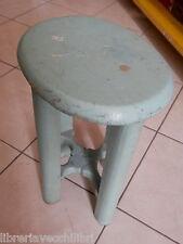 Antico SGABELLO IN LEGNO ovale da scuola per banco scolastico o cucina sedia del