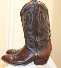 Vintage exotic El Dorado Brown Teju Lizard Leather Cowboy Boots Men 7 D CLEAN