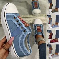 Damen Halbschuhe Slip on Loafer Freizeitschuhe Komfort Segeltuchschuhe Sneakers