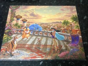 "DISNEY THOMAS KINKADE ALADDIN DANCING IN THE DESERT SUN PRINT COA 14""X11"
