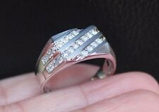 New 10k Mens 1/2ct Diamond Square Top Wedding Band Anniversary Ring White Gold