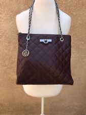 DKNY Leather Burgundy and Gray Quilted Cross Body Bag