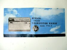 Vintage Transistor Radio Manual Brochure JVC NIVICO 2 Band Model 7TA-2