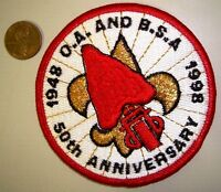 RARE ORDER OF THE ARROW OA & BSA 1998 50TH ANNIVERSATY FLAP GMY FDL POCKET PATCH
