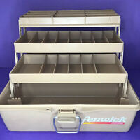Fenwick Woodstream 11368 Fishing Tackle Box, 3 Tray, Tan Color, 12in x 7in x 6in