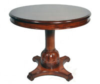Vintage Neoclassical Empire Greek Revival Style Round Cherry Pedestal Table