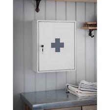 Vintage Retro Style Cream Grey First Aid Metal Lockable Storage Box Wall Cabinet