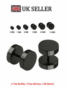 A Pair Top Quality Fake Black Ear Stretcher Plugs Cheater Mens Earrings 6 - 12mm