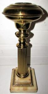 Antique Cornelius & Baker Brass Corinthian Column Marble Base Oil Lamp 1843 Pat.