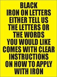 Two Inch Black Iron On Characters - Letters or Numbers Vinyl Printing