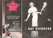 """Cole Porter """"GAY DIVORCE"""" Hope Emerson / Lee Beggs 1935 Detroit Souvenir Program"""