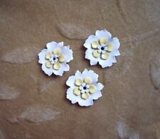 12 vintage enamel flower bead sets,white, 22mm