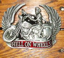 Hell on Wheels Motorcycle Belt Buckle Skull Skeleton Rebel Southern Wings