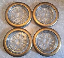 Set of 4 Vintage Mid Century Starburst Glass & Gold Painted Metal Rim Coasters