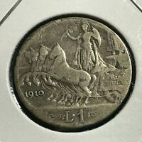 1910 ITALY SILVER ONE LIRA CHARIOT COIN