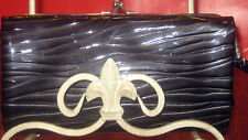 Black ~ Patent ~ Evening ~ Clutch ~ Wristlet ~ Kisslock~ with silver~ Wallet!
