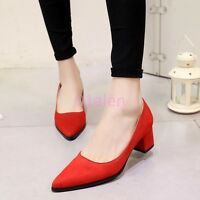 Womens Low Chunky Heel Dress Pointy Toe Slip on Pumps Faux Suede Shoes Plus Size
