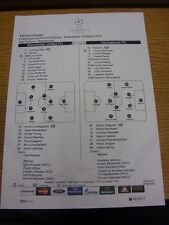 19/03/2014 Colour Teamsheet: Manchester United v Olympiacos [Champions league] (