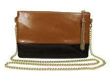 BROWN and BLACK GENUINE LEATHER 2-tone handbag clutch,shoulder bag,wristlet