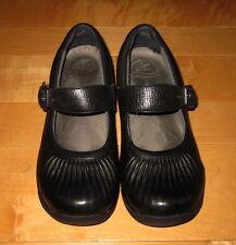 Dansko Womens Black Leather Mary Jane Mules Slides Heels Shoes 37 7 / 7.5