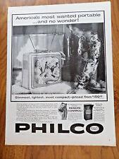 1959 TV Television Ad Philco Portable & Transistor