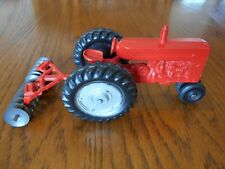Vintage 1950s Lee Toys Red John Deere 40 Tractor w/Drag Disk, All Original, Used