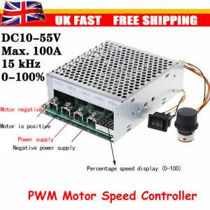 DC 10V-55V 12V 24V 48V 100A PWM Motor Speed Controller CW CCW Reversible Switch