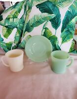 Vintage Anchor Hocking Fire King Coffee Jade-ite and Ivory Mugs And Saucer