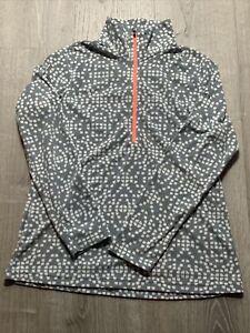 Women's Columbia Gray White Geometric Fleece 1/2 Zip Pullover Jacket Large