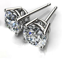 1.00 Ct VVS1 Round Solitaire Diamond Earring 14K Solid White Gold Stud Earrings