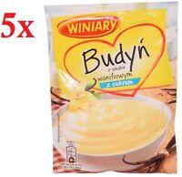 Winiary Budyn Waniliowy Z Cukrem Vanilla Pudding with Sugar 60g Bag (5-Pack)