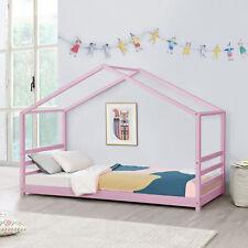 [en.casa] Kinderbett 90x200cm Haus Holz Rosa Bettenhaus Hausbett Kinder Bett