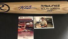 Nolan Gorman St Louis Cardinals Signed Engraved Bat JSA WITNESS COA Blonde