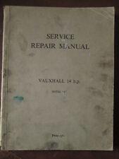 Vauxhall 14HP Model J service repair manual 1939.Workshop manual.