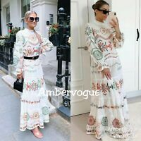 Zara New White Embroidery Ruffled Maxi Voluminous Dress Size S