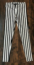 BEBE Black and White Vertical Striped Leggings Size Small