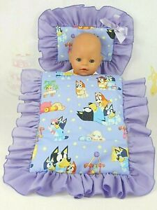 DOLLS~BLUEY DOG~PURPLE PILLOW & QUILT COVER SET~ BED~COT~PRAM~CRADLE~BASSINET